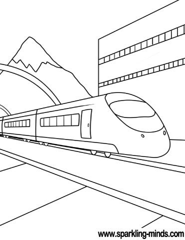 Coloring page featuring a modern train