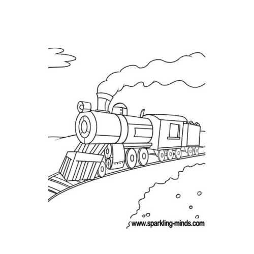Coloring page featuring an old-fashioned model of a train
